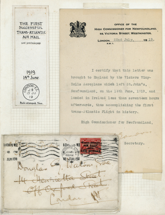 Letter delivered by the first trans-Atlantic flight, 1919.