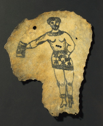 Human skin, tattooed with male figure in skirt, probably French, 19th century.
