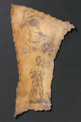 Human skin, tattooed with harlequin and figure of Samson, French, 1830-1900.