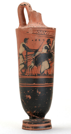 Red pottery jug with chariot illustration, Greek, 480-470 BC