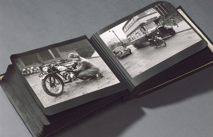 Photograph album of James motorbikes, 1940s.