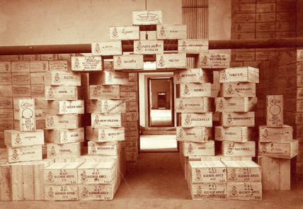 Crates of absinthe ready for export, 1899.