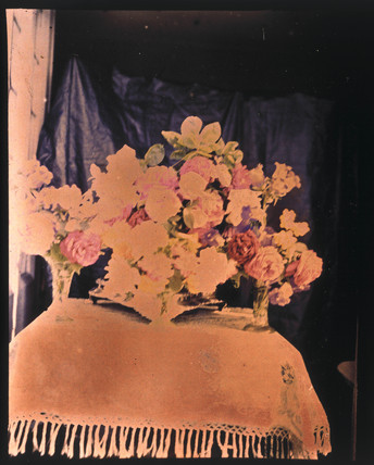 Autochrome of  flower arrangement, c 1910.