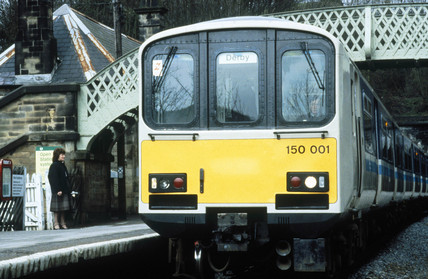 Sprinter train at a station, c 1980s.