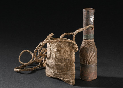 Medicine bottle and string bag, Kenyan, 1880-1920.