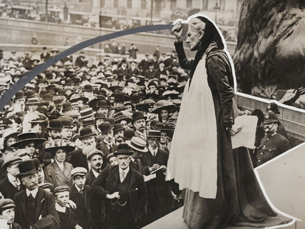 Charlotte Despard speaking at Trafalgar Square, London, c 1910s.
