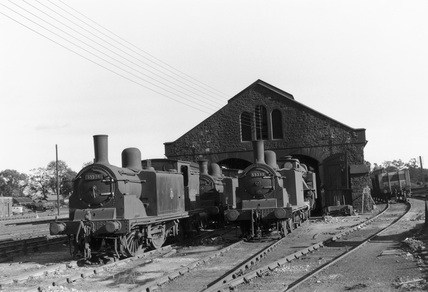 Steam locomotives and shed, Scotland, c 1930.