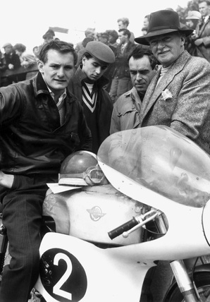 Motorcyclist Mike Hailwood and his father, June 1960.