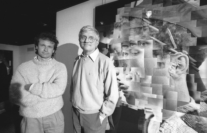 David Hockney and Noel Myles at the NMPFT, Bradford, July 1985.