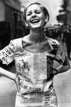 Twiggy wearing a 'newspaper' dress, 30 June 1967.