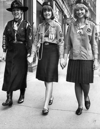 Old and new Girl Guides uniforms, July 1965