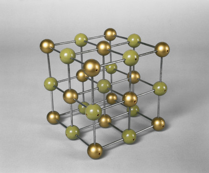 Sodium chloride, ball and spoke crystalline structure model, c 1965.