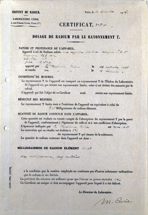 Certificate isued by the Institute de Radium, December 1926.