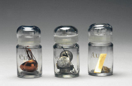 Samples of copper, silver and gold, c 1890.