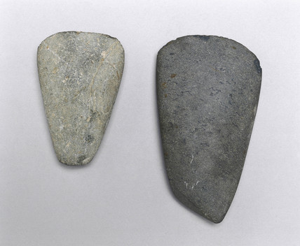 Two polished stone axes, Neolithic Period, c 8000 - 3500 BC.