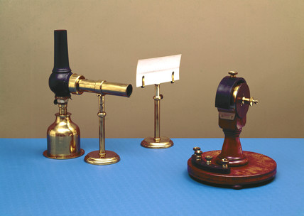 Kelvin's mirror galvanometer with lamp and stand, 1858.