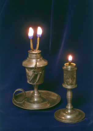 Whale oil and camphene lamps, 1835-1845.