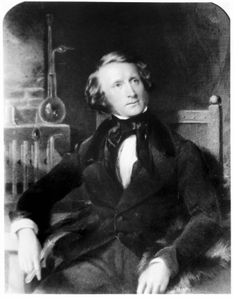 Alexander Parkes, inventor of the first synthetic plastic, 1848.