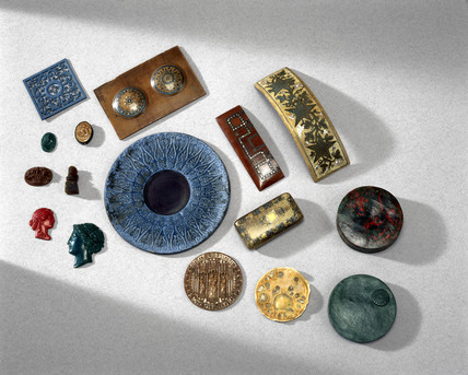 Objects made from Parkesine, 1855-1891.