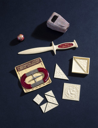 Objects made from cellulose acetate, c 1930s-1940s.