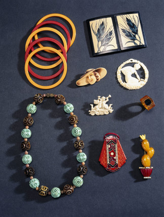Plastic jewellery from the John Jese collection, early 20th century.