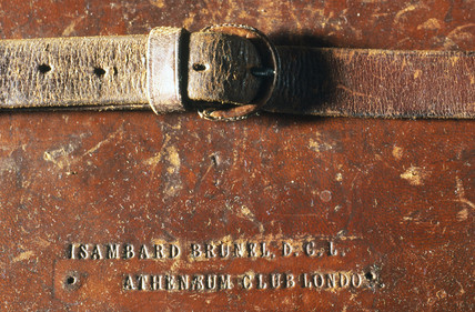 Leather attache case belonging to Isambard Kingdom Brunel, 19th century.