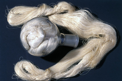 Earliest existing specimen of viscose rayon, 1898.