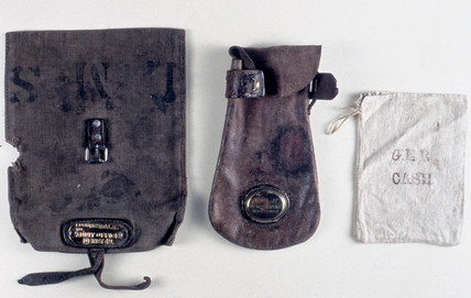 Three cash bags used on the railways, 1840-1921.