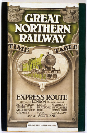 Front cover of Great Northern Railway expres route timetable, 1912-1913.