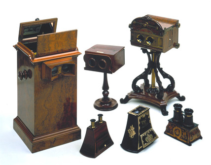 A group of stereoscopic viewers, 1850-1869.