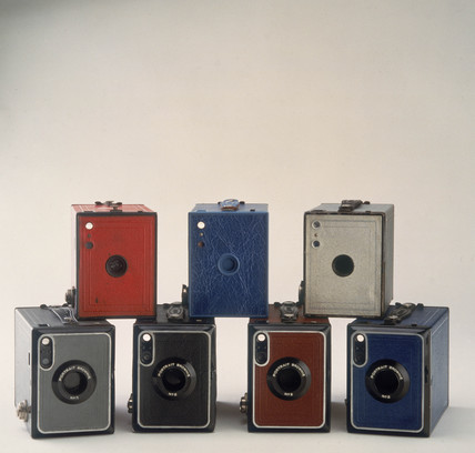 No 2 Portrait Brownie cameras in 'fashion' colours, 1929-1935.