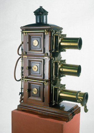 Triunial magic lantern with three lenses, 1890.