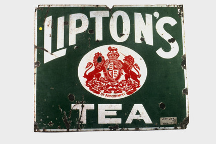 Sign advertising 'Lipton's Tea', c 1920.