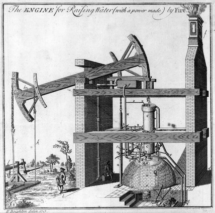 Early Newcomen water-pumping steam engine, Oxclose, Tyne & Wear, 1717.