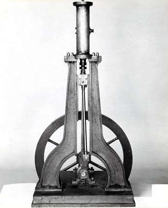 Model, or small example, of Nasmyth's steam hammer, c 1848.