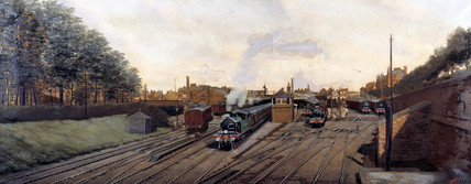 Train leaving Southend Station, Essex, c 1902.