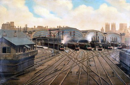 Steam Locomotives At York Station Yorkshire C 1910 By Moore F At Science And Society Picture