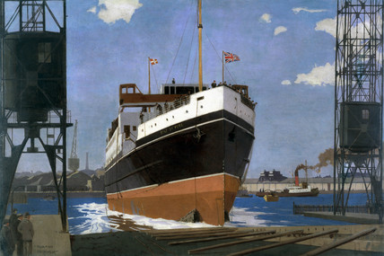 Launch of Ts 'Duke of York', Queen's Island, Belfast, 1935.