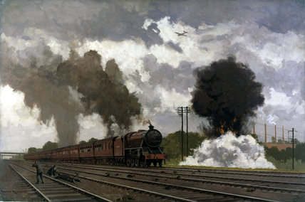 The London Midland Scottish expres train being bombed, October 1940.