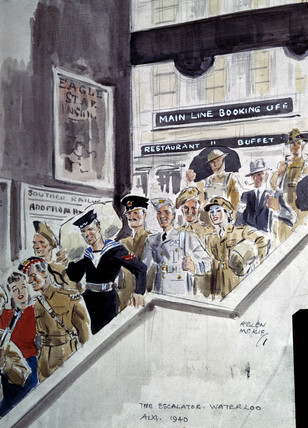 The Escalator, Waterloo Station, London, August 1940.