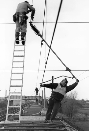Working on the East Coast Main Line overhead power lines, c.1989.