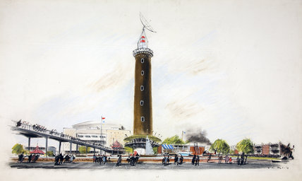 Shot Tower and elevated walkway at the Festival of Britain. Watercolour, Hugh Casson, 1948-1952