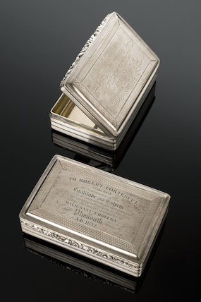 Silver snuff boxes, United Kingdom, presented in 1832 and 1850.