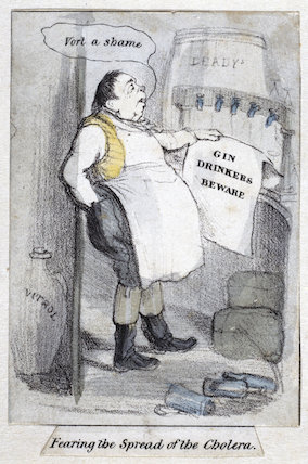 Fearing the spread of the cholera' caricature, Europe, 19th century.