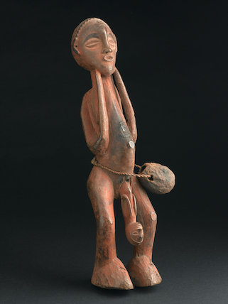Wooden statue showing childbirth, Angola, 19th century.