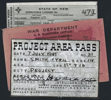 Project Area Pass for the Alamogordo Test Site, New Mexico, 1945.