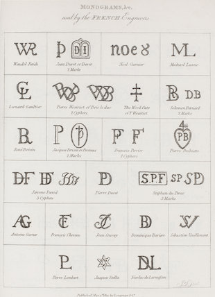 Monograms used by the French Engravers: Rees' Cyclopaedia