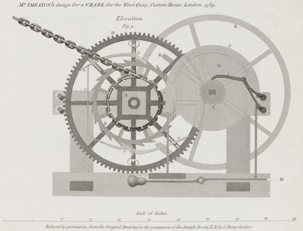Design for a crane for Custom House, London: Rees' Cyclopaedia