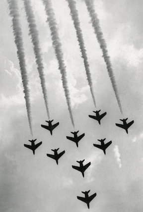 the Red Arrows in flying formation.
