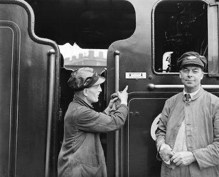 Driver and fireman on a steam locomotive footplate, 1956  at